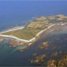 Aerial oblique view of Herm and the Humps