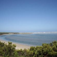 Glenelg River Estuary as viewed from the Beach Road lookout, the opening to the ocean can be seen at far right.