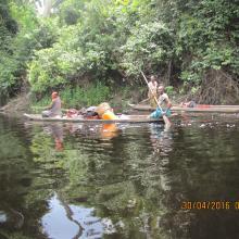 Femmes naviguant sur la Likouala-aux-herbes