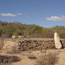 Malahafy tomb with zebu skulls, Lac Tsimanamsotsa.