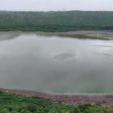 Panoramic view of Lonar Lake