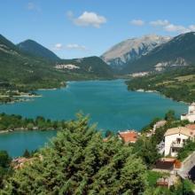 Barrea Lake, on the right Barrea town