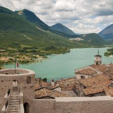 Barrea Lake from the village of Barrea. In the background the village of Civitella Alfedana far centre and Villetta Barrea far right