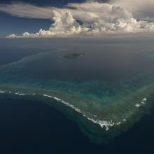Aerial - the Great Sea Reef surrounding Kia Island, Northern Division.