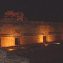 The light show in the ruins of Uxmal, where Mayan legends were narrated praying for rain.