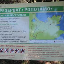 Information table. The photo was taken during a field study part of the preparation of the Ropotamo Reserve Management Plan.