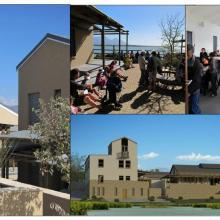 False Bay Nature Reserve Headquarters Complex (left), showing community use of the multi-purpose hall and associated courtyard (top centre and right) and Architect's impression of the now completed Complex (bottom right).