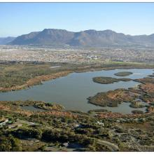 Rondevlei (looking westwards from Zeekoevlei towards Muizenberg Peak and Silvermine)