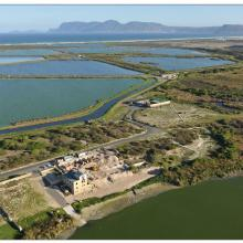 Strandfontein Birding Area (looking southwards from Zeekoevlei towards Cape Point).  The construction of the new FBNR headquarters node (now completed)  is visible in the foreground of the photo.