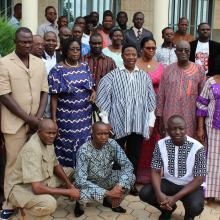Photo 15: Photo de famille des participants à l'atelier de restitution et d'appropriation du processus par les acteurs du niveau régional à Dédougou le 21 septembre 2017