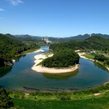 Upstream, north to the Pyeongchang River