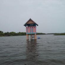 Mirador sur la portion sacrée de la lagune côtière à Ahloboe dans la commune de Ouidah