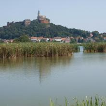 View over pond and castle
