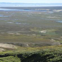 The outer reaches of the Sullorsuaq valley and the shallow bay.